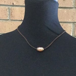 Suede Choker with Floating Glass Bead